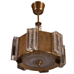 Danish Midcentury Glass, Brass Chandelier by Vitrika