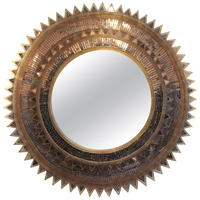 Style of Line Vautrin Large Round Mirror with Cut Glass and Resin