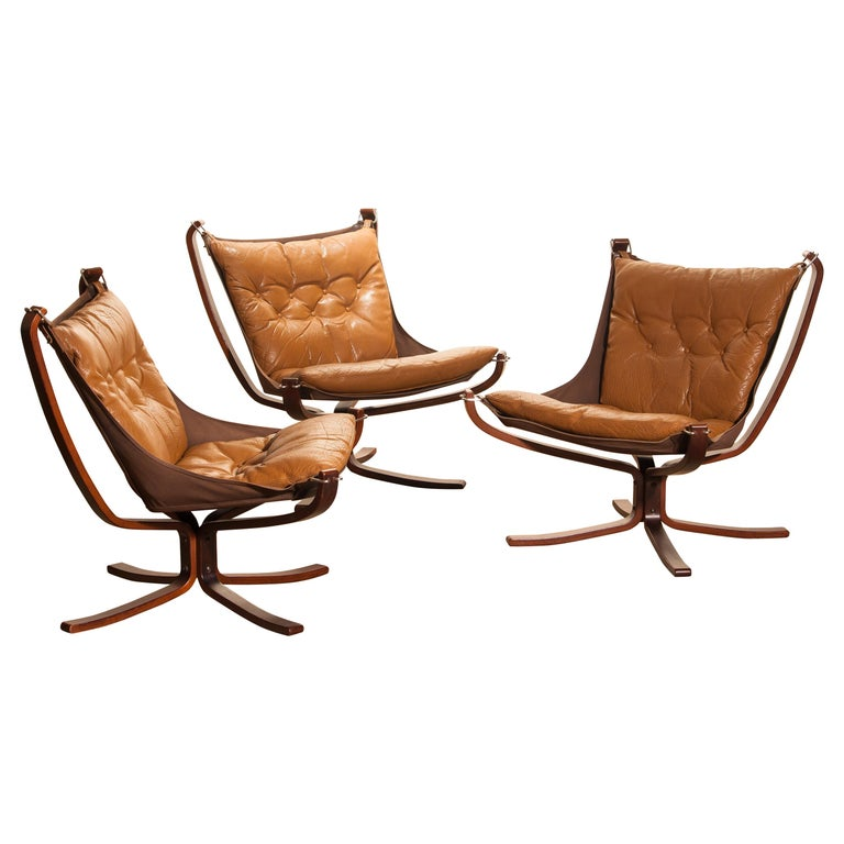 1970s, Set of Three Camel Leather 'Falcon' Lounge Chairs by Sigurd Ressell