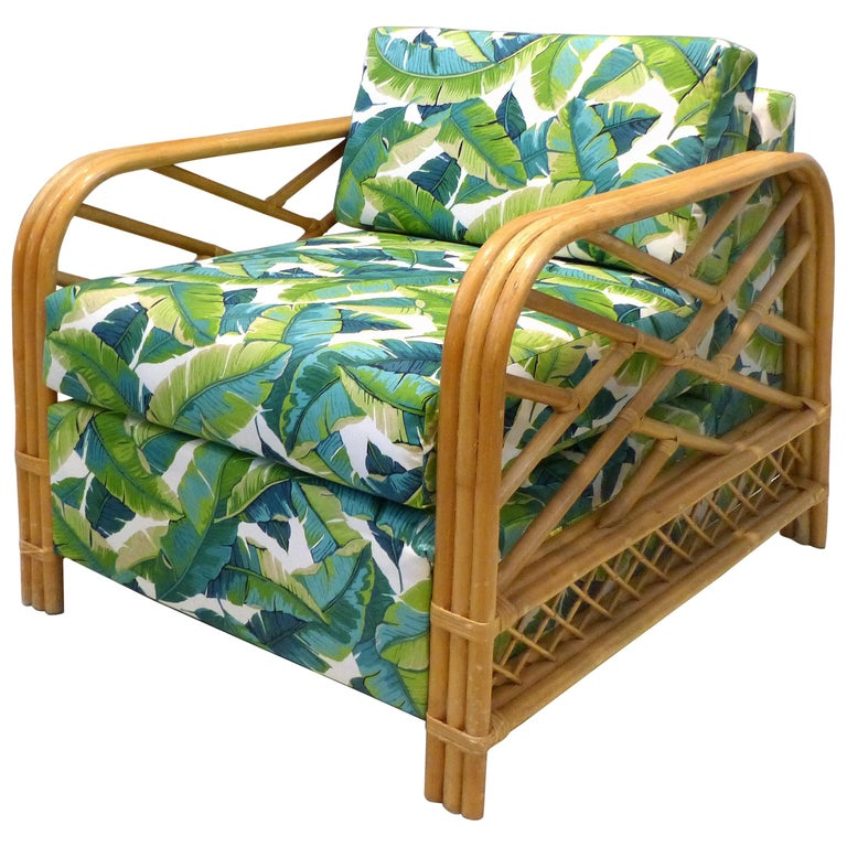 1950s Newly Upholstered Vintage Tropical Modern Rattan Lounge Chair