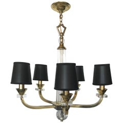 J. Adnet 5 Arms Chandelier, Pair Available