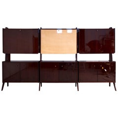Mid-Century Modern Italian Wall Unit Bookcase and Bar Cabinet, 1950s