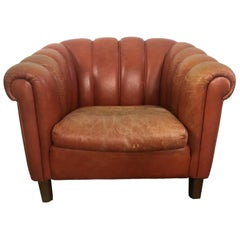 Orange Clamshell Club Chair from Sweden, 1930s