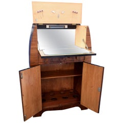 English Art Deco Fitted Burr Walnut Cocktail Cabinet or Dry Bar
