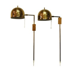 Pair of Brass Wall Lamps Model G-075 by Bergboms, Sweden, 1960s