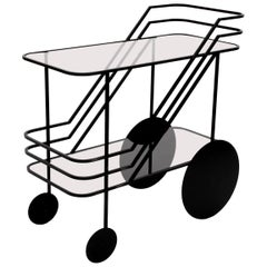 Black Powder Coated Contemporary European Drinks Cart with Smoke Glass Shelves