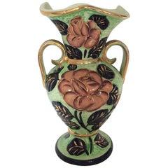 Vallauris Ceramic Flowered Vase
