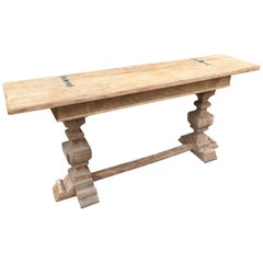 French Oak Monastère Style Opening Console with a Thick Tray