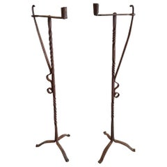 Late 18th-Early 19th Century French Wrought Iron Floor Candleholders