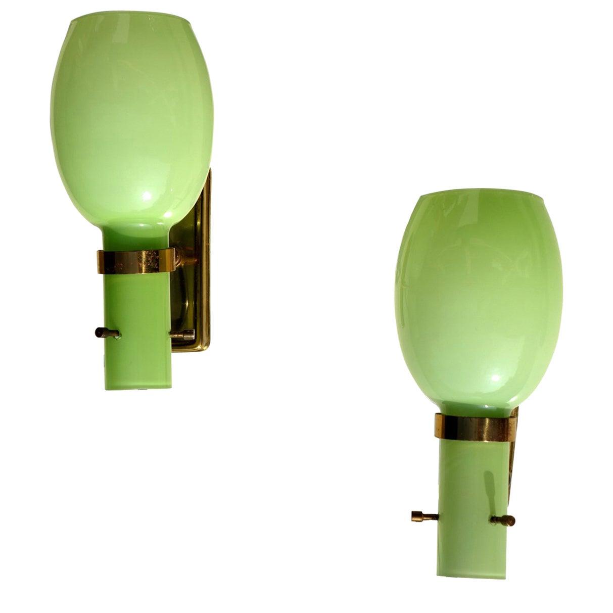 1950s by Stilnovo Italian Midcentury Design Pair of Wall Lamps