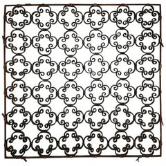 French Handmade Wrought Iron Quatrefoil Fence, circa 1900