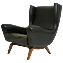 Illum Wikkelsø Leather and Rosewood Lounge Chair