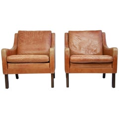 Pair of Danish Leather Lounge Chairs
