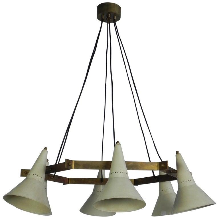 Stilnovo Midcentury Six-Arm Brass Hexagonal Italian Chandelier, 1960