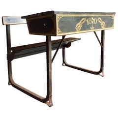 Manificent Victorian Double School Desk Elm and Metal Painted, circa 1870