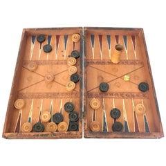Faux Book Form Backgammon Set