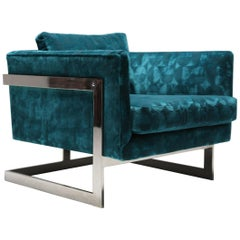 Milo Baughman Floating Cube Lounge Chair in Patterned Teal Velvet