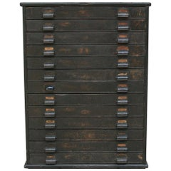 Old German Factory Plan Cabinet with 13 Drawers, circa 1900