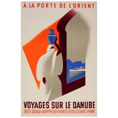 Original Vintage Danube River Cruise Ship Travel Poster - Voyages Sur Le Danube