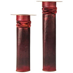 Thomas Roy Markusen American Modernist Candleholders in Red Patina
