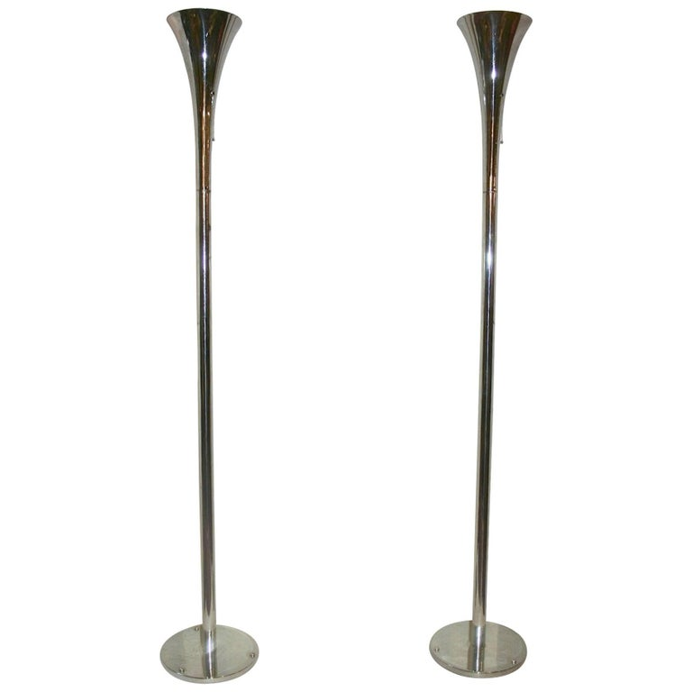 Pair of Chrome-Plated Torcheres