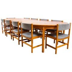 Midcentury Danish Oak Borge Mogensen Dining/Boardroom Table and Ten Chairs