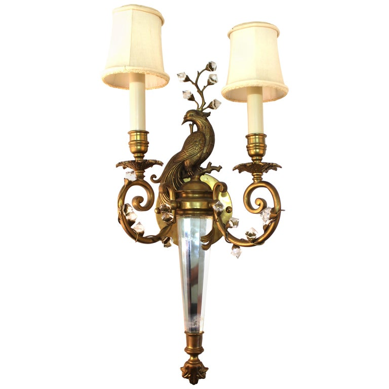 Hollywood Regency Maison Baguès Style Crystal Sconce