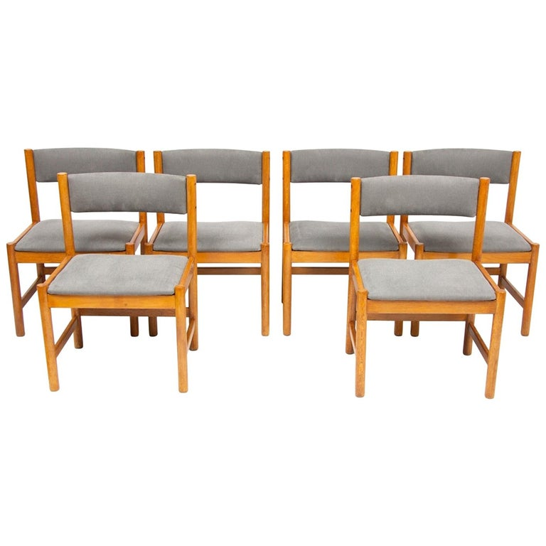 Set of Six Midcentury Danish Oak Dining Chairs by Borge Mogensen