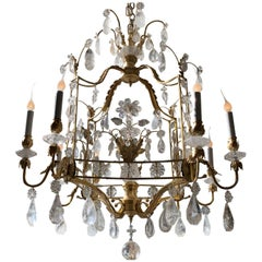 French Louis XVI Baguès Rock Crystal Eight-Light Square Midcentury Chandelier