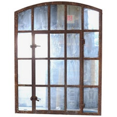 Industrial 19th Century Iron Window Mirror