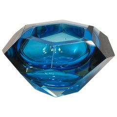 Flavio Poli Seguso VA Sommerso Faceted Bowl Clear Cobalt Uranium Yellow, 1960s