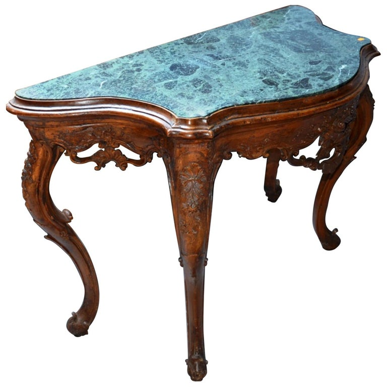 19th Century French Hand-Carved Marble-Top Console Louis XV Period For Sale