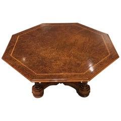 Burr Walnut Victorian Period Octagonal Coffee Table