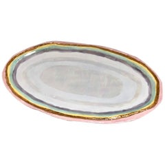 Large Oval Prism Platter with Mother of Pearl and 22k Gold Luster by Minh Singer