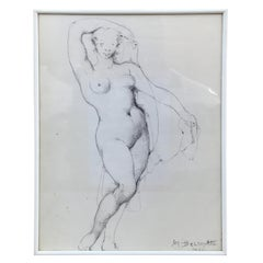 Marcel Delmotte, Drawing Signed and Dated 1981