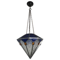 Handcrafted Stain Leaded Art Deco Glass Pendant Diamant Design & Great Colors