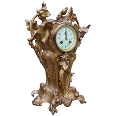 Stunning Early 20th Century Golden Color Art Nouveau Table or Mantel Clock