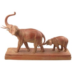 Demetre Chiparus 1930s Art Deco Terracotta Sculpture Elephant and Baby