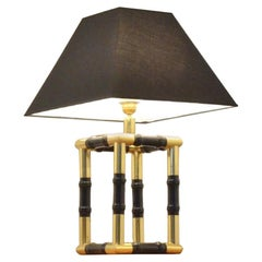 Cube Faux Bamboo Brass and Ebonized Wood Table Lamp, 1960s
