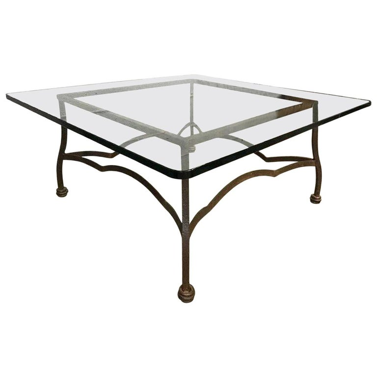 Round Coffee Table, Black Shearling, Glass Top For Sale At