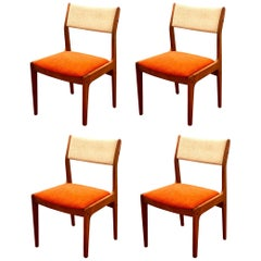 Set of Four Danish Modern Solid Teak Two-Tone Upholstered Dinning Chairs