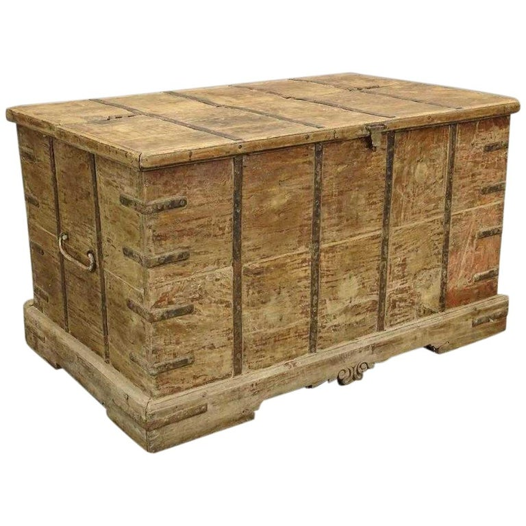 Antique Handcrafted Strap Metal Chest or Trunk For Sale