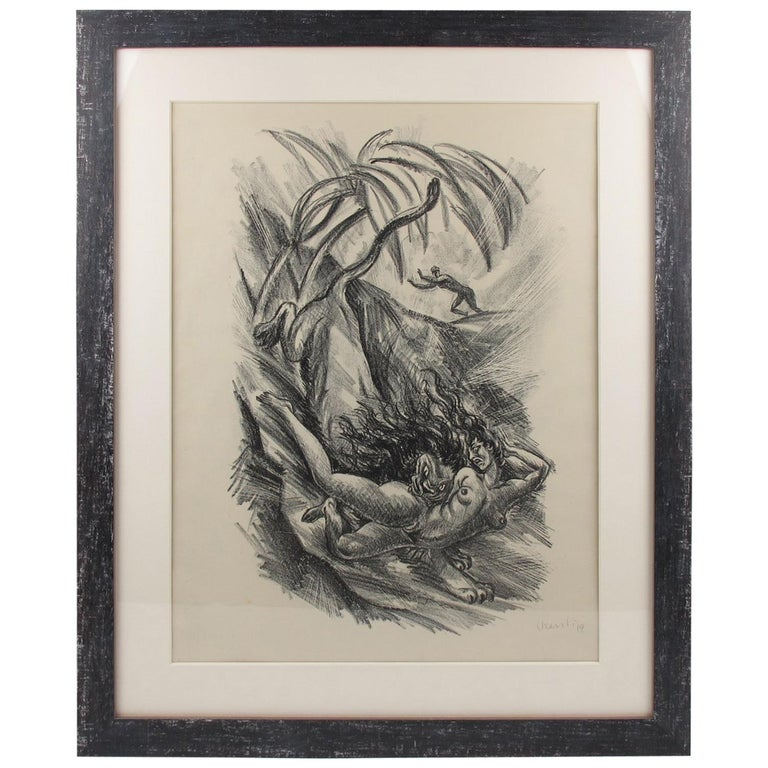 Adolf Uzarski 1919 Charcoal Drawing Lithograph, Tales of the Parrot For Sale
