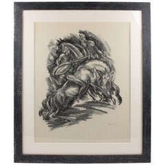 1919 German Adolf Uzarski Charcoal Drawing Lithograph, Tales of the Parrot