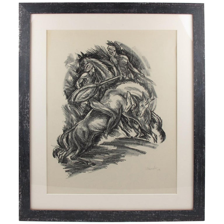 1919 German Adolf Uzarski Charcoal Drawing Lithograph, Tales of the Parrot For Sale