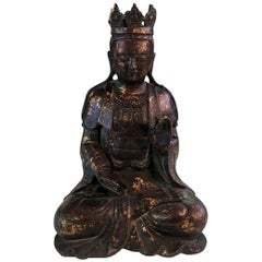 Bronze and Gilt Seated Shrine Temple Buddha Sculpture