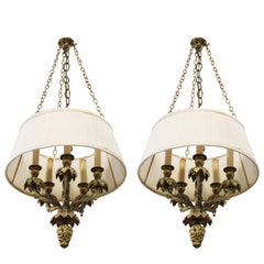 Neoclassical Revival Gilt Bronze Chandeliers With Grapevines Motif