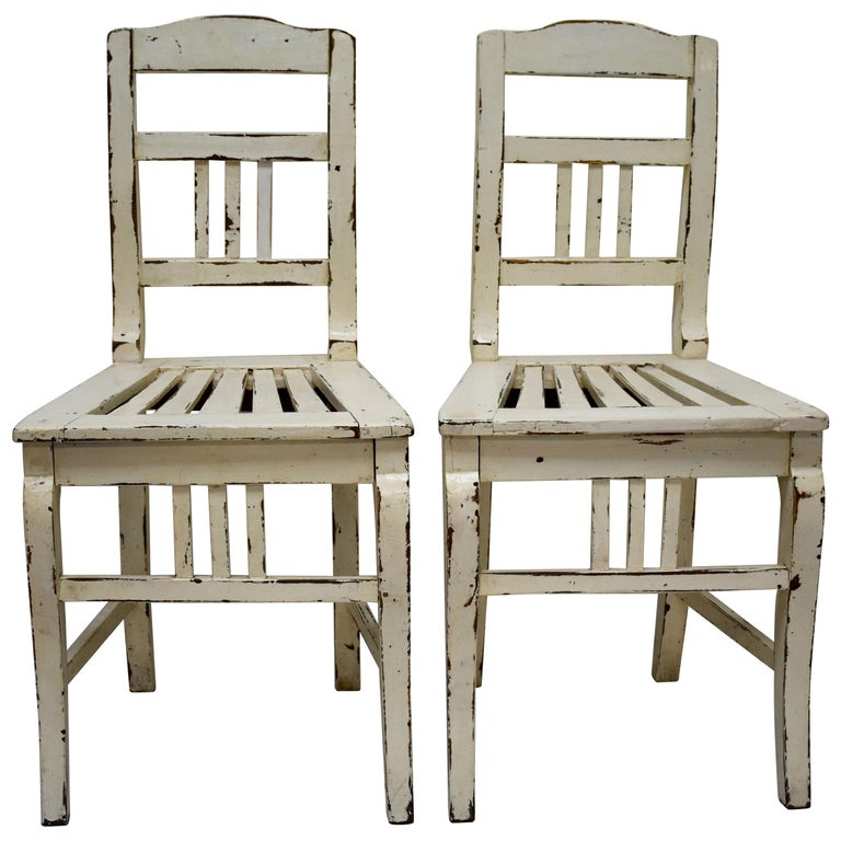 Pair of Painted Oak Country Side Chairs