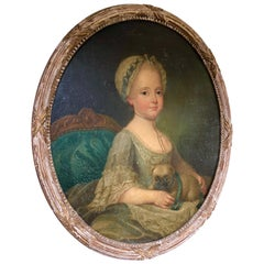 Louis XVI Period Portrait, Girl with Pug