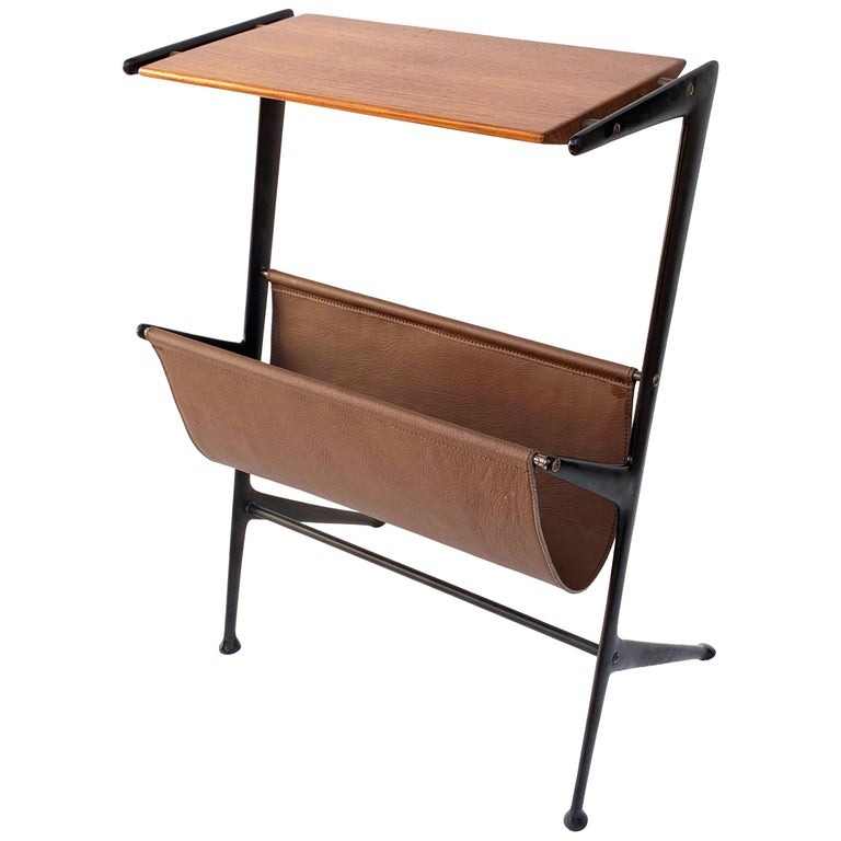 Magazine Table, Metal, Wood and Leather, Italy, 1950s Ico Parisi